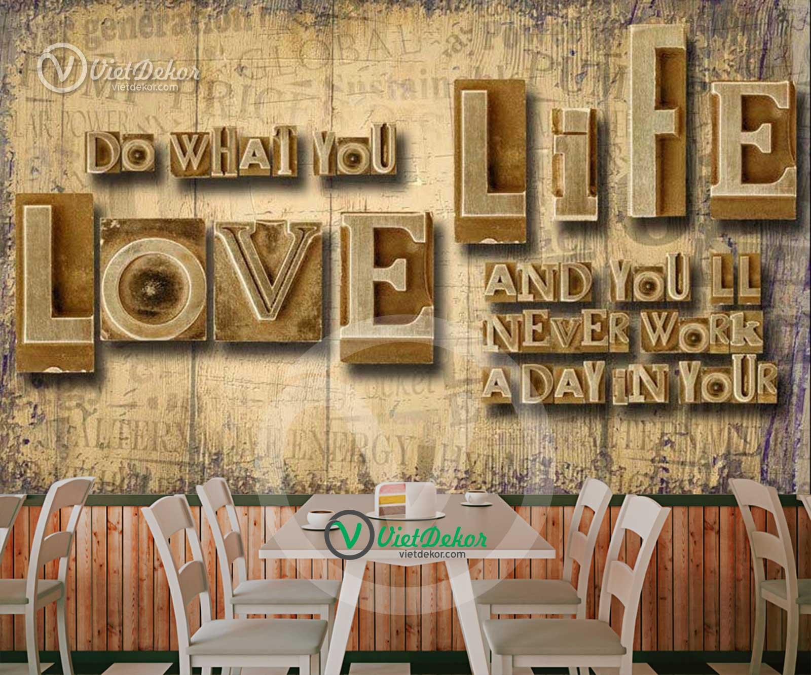 Tranh dán tường 3d cho quán coffe