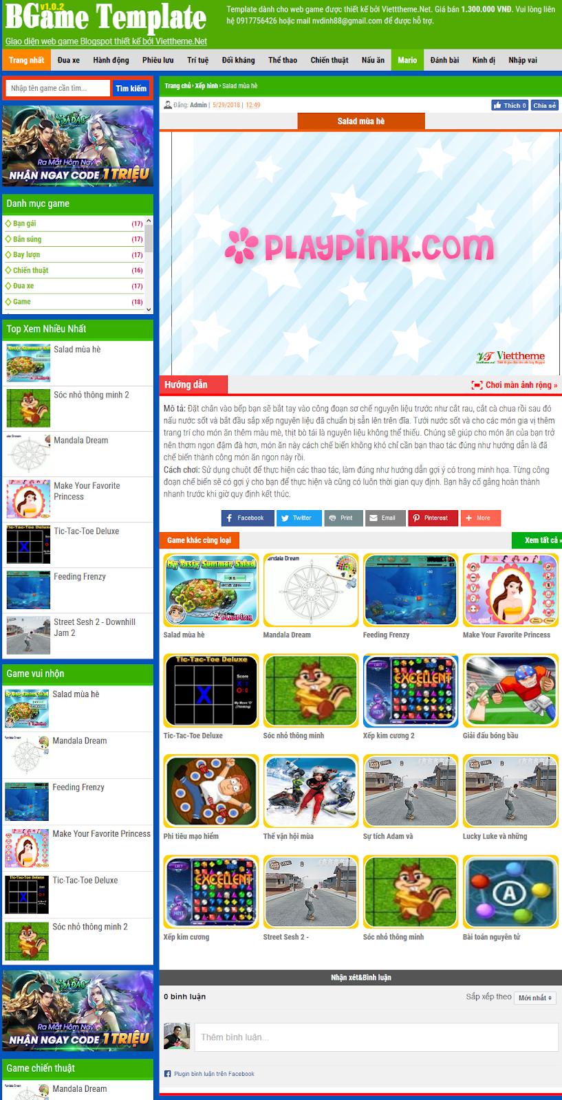 BGame v1.0.2 - Mẫu web game online dành cho Blogspot
