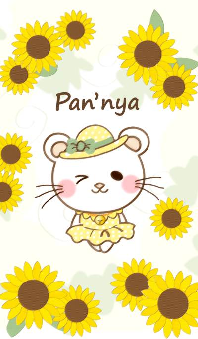 Panda cat, Pan'nya and sunflower(summer)