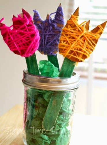 yarn wrapped spring flower craft