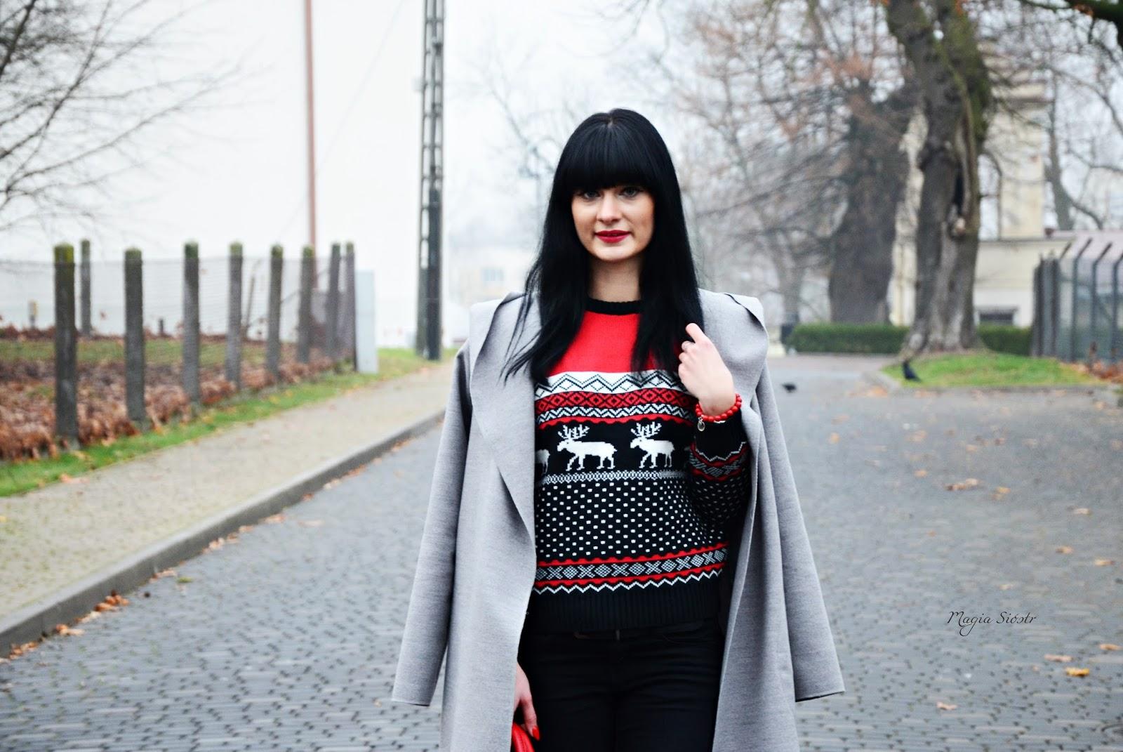 sweter świąteczny, renifery, norweskie wzory, czarno-czerwony