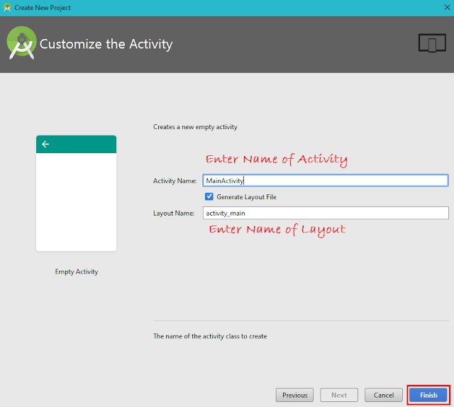 Customize the Activity, Android Studio