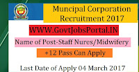 Municipal Corporation Recruitment 2017– 142 Staff Nurse/ Midwifery