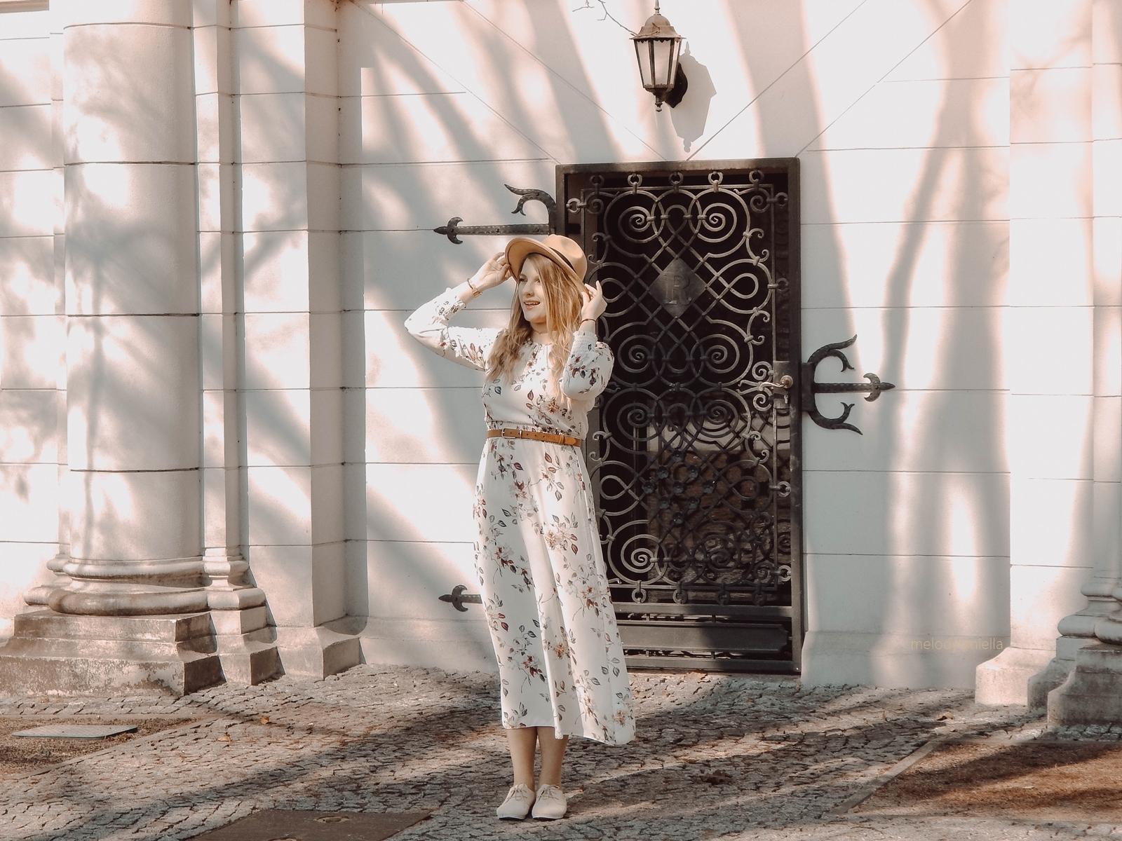 3 maxi sukienka w kwiaty answear jakosc opinie ceny wiosenne trendy 2018 blog moda fashion kapelusz stylizacje boho buty tamaris dodatki parfois