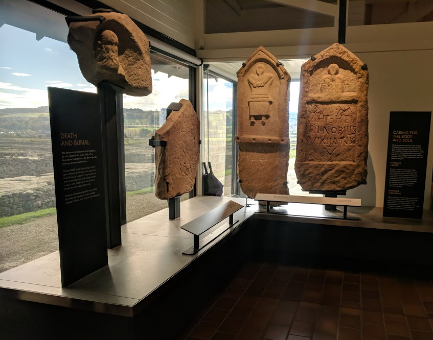 A lovely pub lunch & a trip to Corbridge Roman Town with kids  - buriel stones in the museum