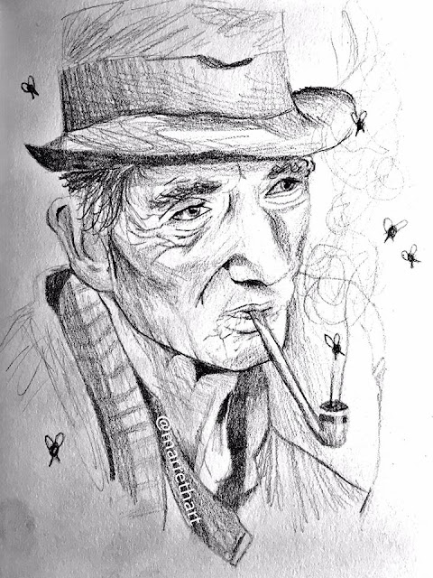 Man smoking pipe. Sketch. insects emerge from pipe. By @marrethart