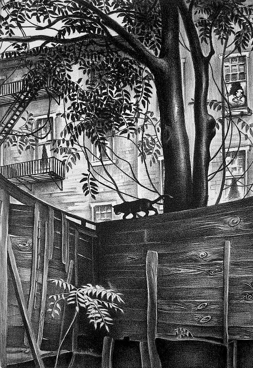Mabel Dwight backyard drawing