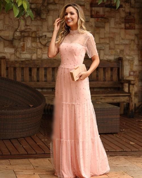 vestido longo rose com manga curta