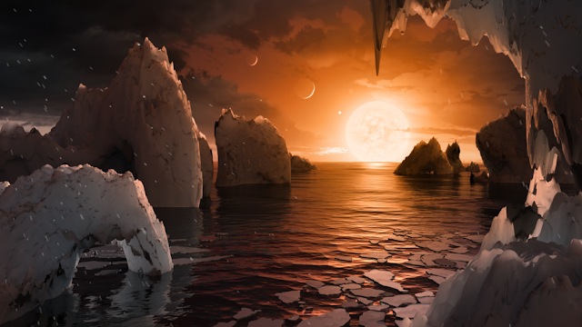 This illustration shows the possible surface of TRAPPIST-1f, one of the newly discovered planets in the TRAPPIST-1 system. Scientists using the Spitzer Space Telescope and ground-based telescopes have discovered that there are seven Earth-size planets in the system. Credits: NASA/JPL-Caltech