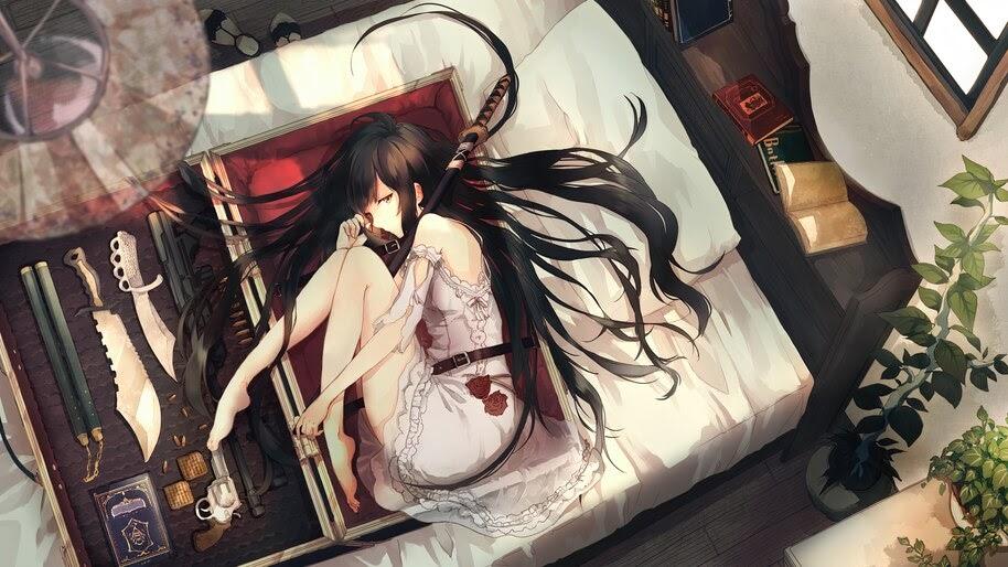 Anime, Girl, Katana, 4K, #4.2380