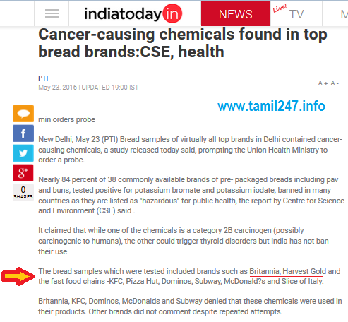Cancer-causing chemicals found in top bread brands: CSE, Health ministry, KFC, Pizza Hut, Domino's, Subway, McDonald's and Slice of Italy, Britannia, contain cancer-causing  chemicals, ப்ரட், பிசா, பர்கர்