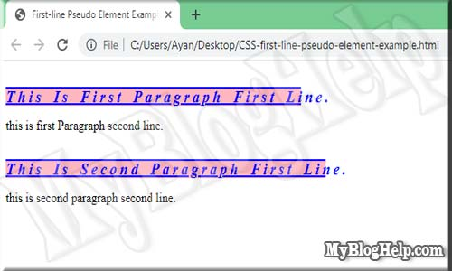 CSS-first-line-pseudo-element-example