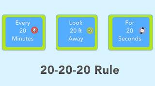 20-20-20 rule to reduce eye strain
