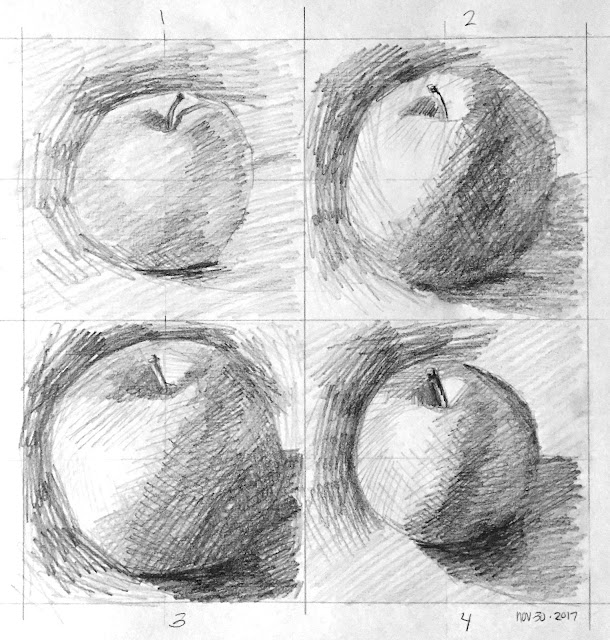 Daily Art 11-30-17 still life sketch in graphite number 42-45 - 10-minute apples
