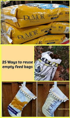 Piles of feed bags to reuse for crafts