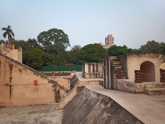 View of various monumental stone astronomical instruments around site of Jantar Mantar, New Delhi