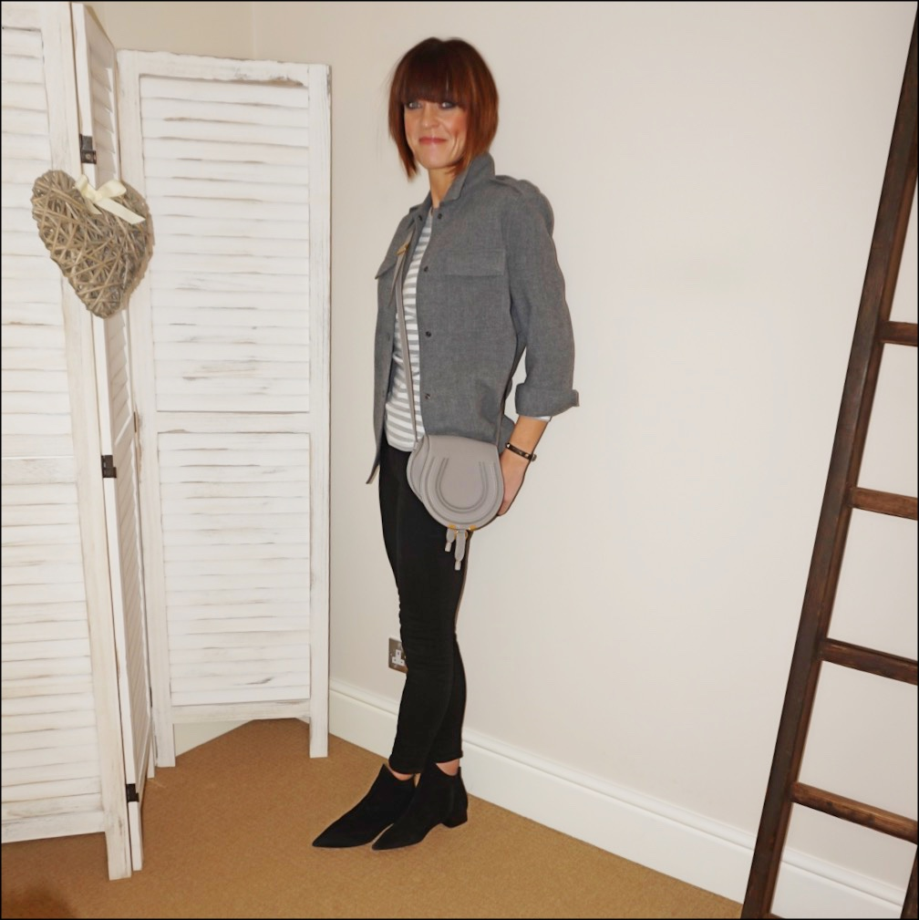 my midlife fashion, mango overskirt, marks and spencer stripe long sleeve round neck t shirt, chloe marcie cross body bag, j crew 8 stretchy toothpick jeans in true black, find ark womens leather ankle boots