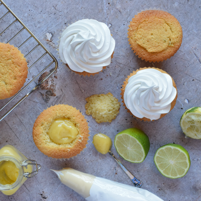 Cupcakes filled with Lime Curd and topped with Italian Meringue
