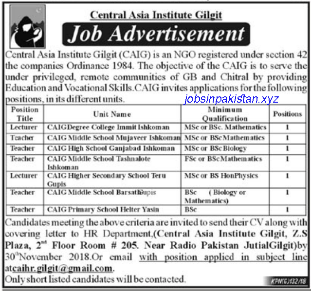 Advertisement for Central Asia Institute Gilgit Jobs 2018