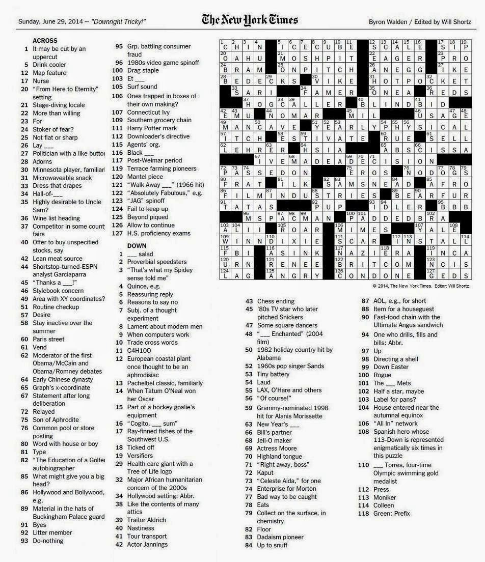 picture about Free Printable Fill in Puzzles Online known as Totally free Printable sunday clean York moments Crossword Puzzles Online games