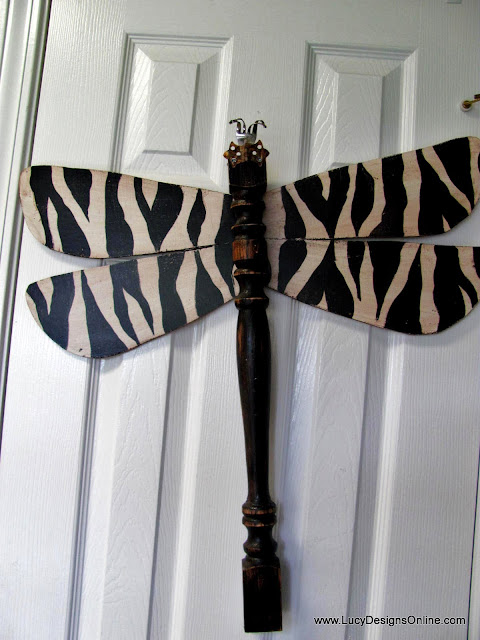 zebra dragonfly recycled art
