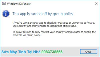 Windows Defender đã được tắt