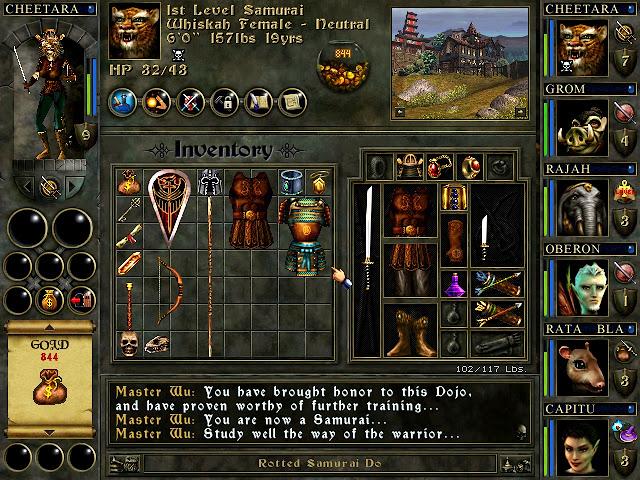 Wizards & Warriors - Samurai Whiskah - Inventory