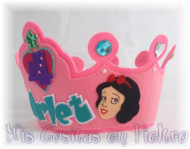 corona de cumpleaños, niños, corona de fieltro, fiesta, felt crown, coroa, feltro, aniversario,  Disney, princesa, princesas Disney, Blancanieves, Cenicienta, Cinderella, Snowhite