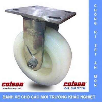 Bánh xe đẩy Nylon càng thép không rỉ inox 304 | 64002 www.banhxepu.net
