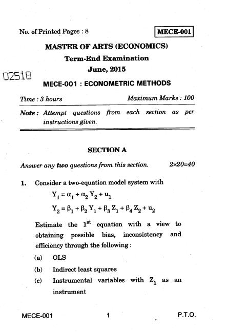 IGNOU M A MECE-001 Econometric Methods June 2015 Question