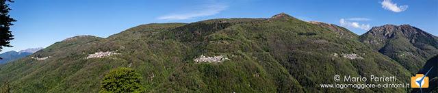 Il panorama da Viasco con il versante di Maccagno