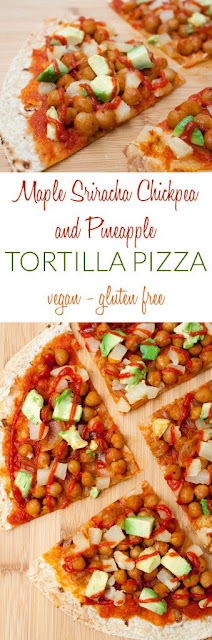 Maple Sriracha Chickpea And Pineapple Tortilla Pizza