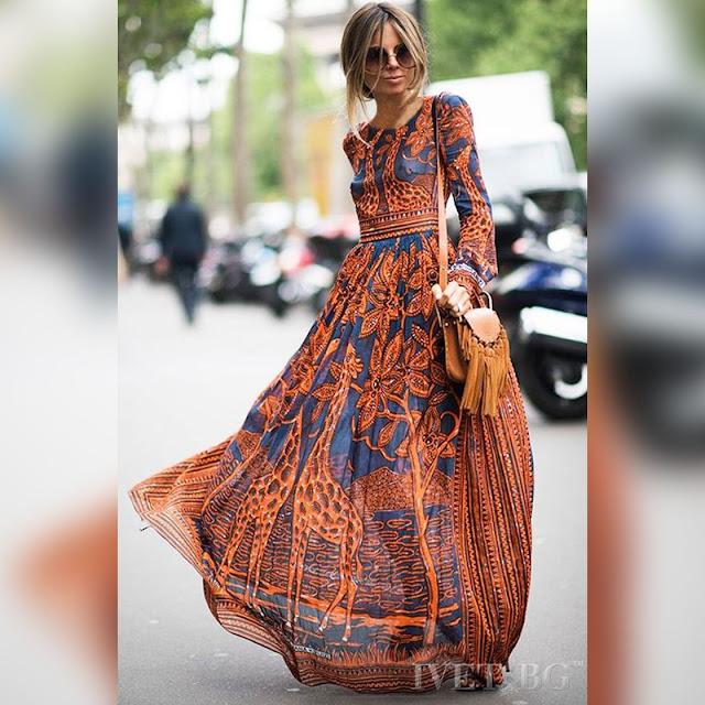 Μακρυμάνικο μάξι χρωματιστό φόρεμα AURORA