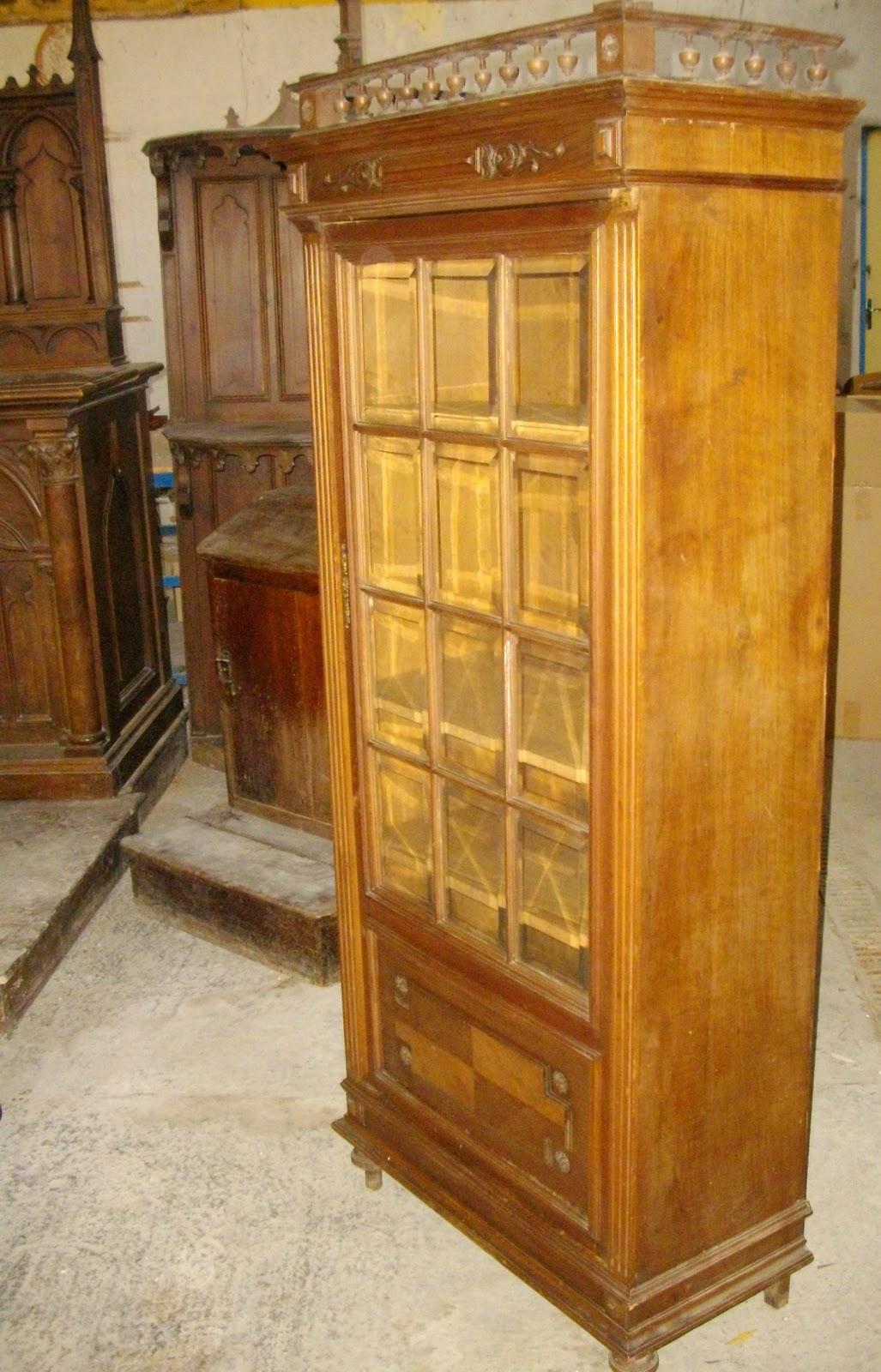Ancienne Vitrine Bibliotheque Bois Vitres Verres Biseaut Es