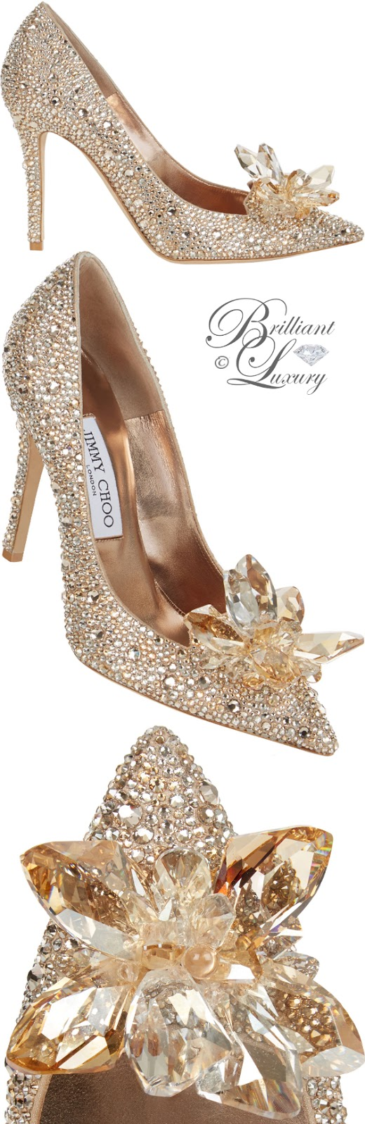 Brilliant Luxury ♦ Jimmy Choo Alia golden crystal covered pointy-toe pumps