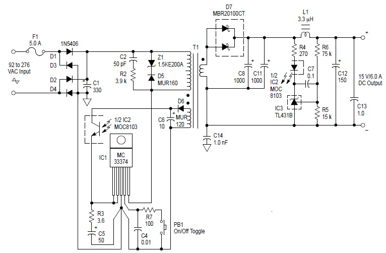 power supply switched 15v x 6a circuit diagram