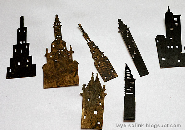 Layers of ink - Embossed Cityscape Tutorial by Anna-Karin Evaldsson, paint the buildings.