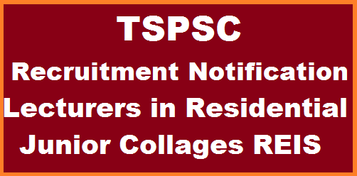 Telangana State Public Service Commission Principals in Junior Colleges REIS Recruitment Notification 2017