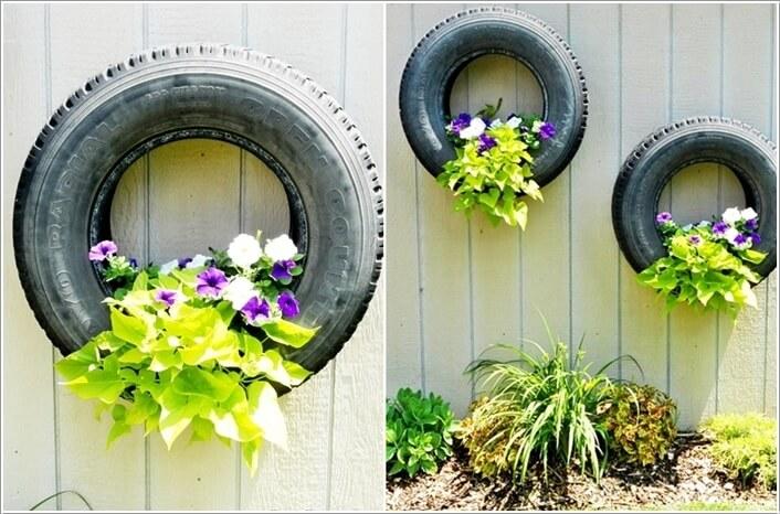 Lốp xe cũ bỏ đi – hàng rào nhà ống thú vị