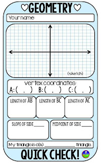 Geometry quick check template for bell ringers, warm ups and exit tickets