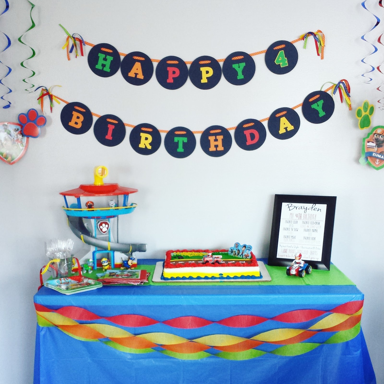 Paw Patrol 4th Birthday Party