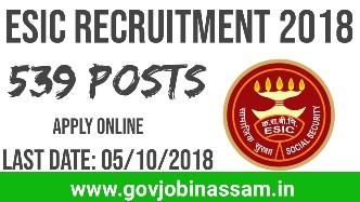 ESIC Recruitment 2018,govjobinassam
