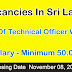 Vacancies In SriLanka   Post Of Technical Officer Wonted