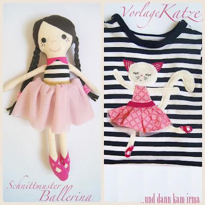 Schnittmuster, Vorlage, Applikation, Ballerina, Katze, Puppe, free Tutorial,