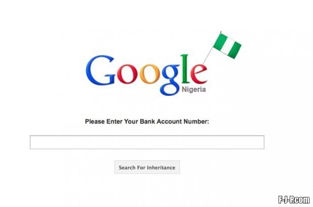 Google Nigeria: please enter your bank account number to search for inheritance