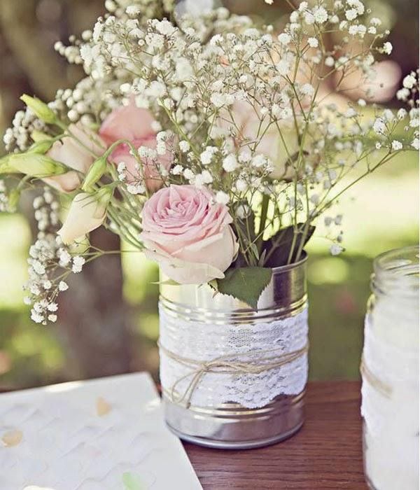 Decoracion para bodas con latas de conserva