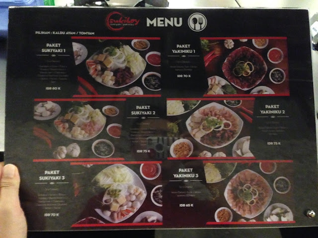 Menu makanan jepang sukiyaki dan yakiniku