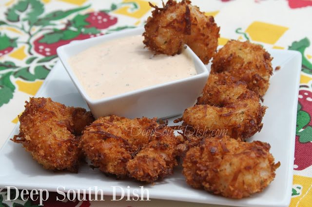 Fresh, extra large shrimp, coated in flour, dipped in an egg wash, then rolled in coconut and fried.