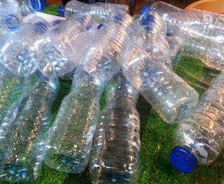 Pile of empty plastic water bottles