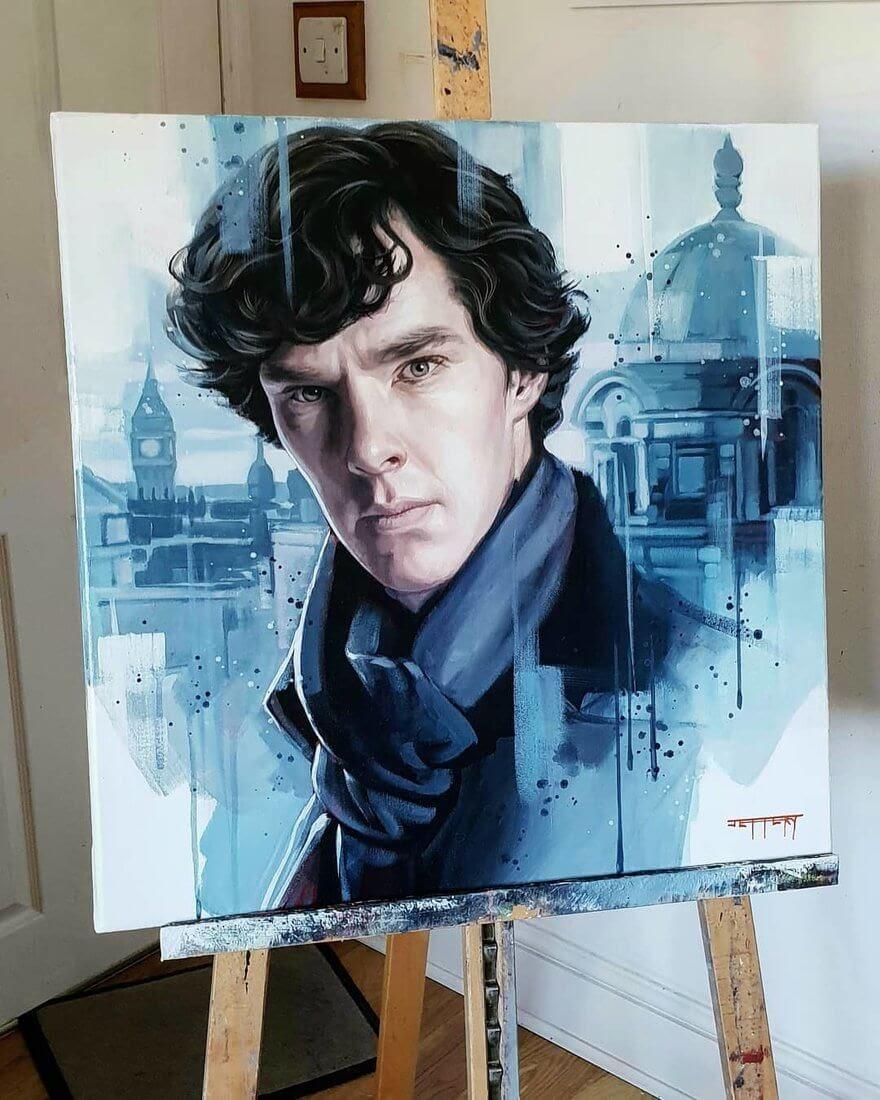 09-Sherlock-Holmes-Benedict-Cumberbatch-Ben-Jeffery-Superhero-and-Villain-Movie-Paintings-www-designstack-co